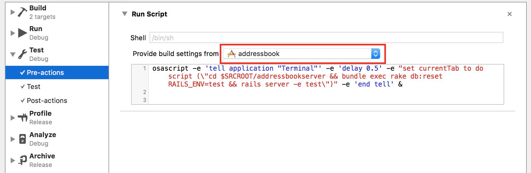 xcode test scheme scripts enviroment pre